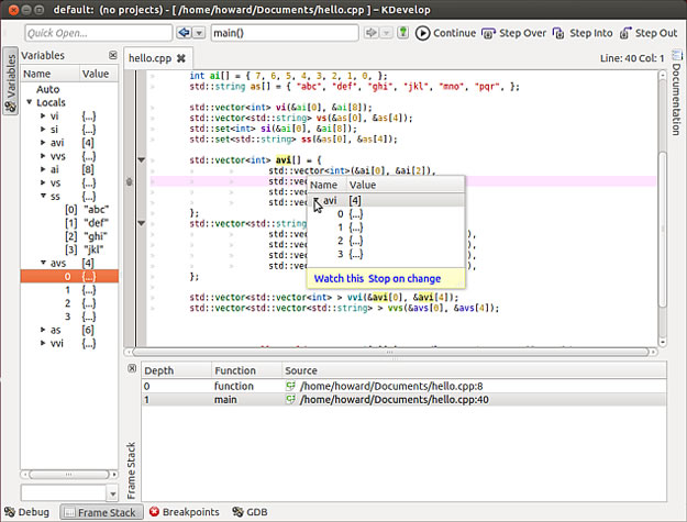 The KDevelop debugger