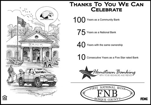 First National Bank of Bosque County emphasizes its trustworthiness in ads celebrating its centennial.