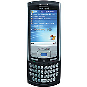Sure it's a cell phone, but Samsung's nifty i730 is also much more. It's powered by Windows Mobile Pocket PC, plays MP3 files, and supports EV-DO data speeds. There's also a full hidden keyboard so you can send messages anytime, anywhere