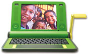 An early prototype of the OLPC laptop can run on good old muscle power