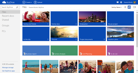 SkyDrive enhancements include a home page that sports Window 8-style design.