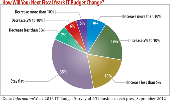 chart How will next fiscal year's IT budget change?