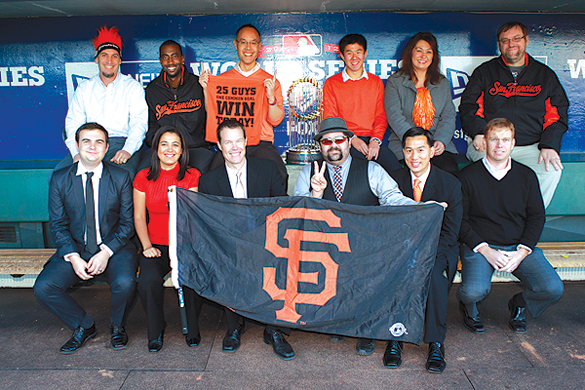 Schlough's IT team celebrates the Giants' World Series win