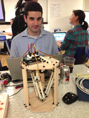 Phil Wells of Team Doogie, winners of the Kaplan Hackathon award for tech excellence for its mobile app-testing robot.