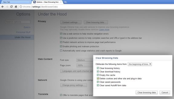 Google Chrome 12 Clear Browsing Data