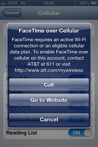 no FaceTime over this cellular account