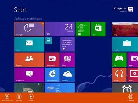 Windows 9 (Blue) Start page