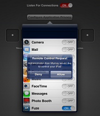 The iOS user must explicitly permit the remote control request