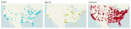AT&amp;T Verizon Sprint LTE coverage maps