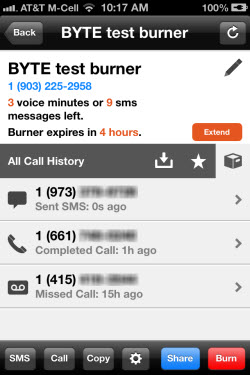 The iPhone Burner app; note the 3rd call in the list has voice mail