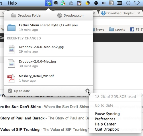 Dropbox 2.0.0 Mac menu
