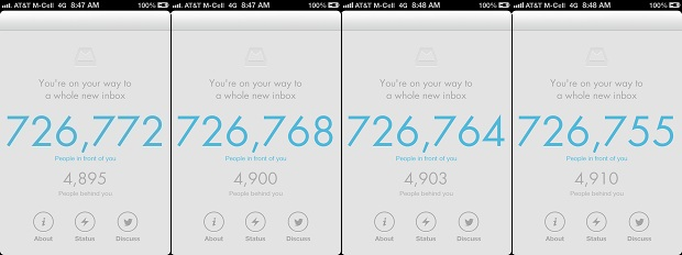 Mailbox app waiting list countdown