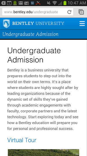 Bentley University Admissions site from an Android phone