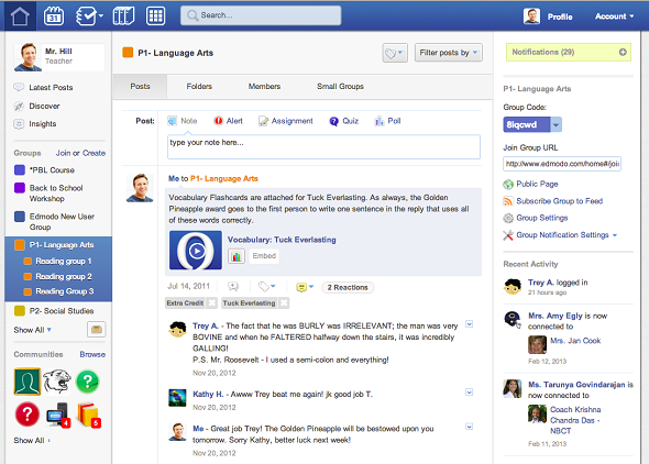 Edmodo social collaboration for teachers informationweek classroom discussion in edmodo stopboris Images