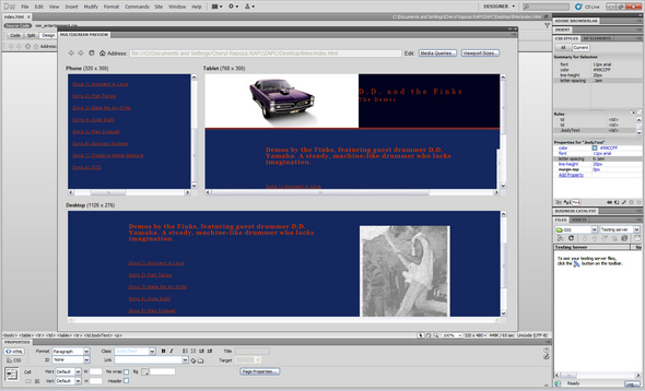 Dreamweaver Displays Multiple Formats