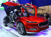 Ford's splashy concept car, the Evos, at CES