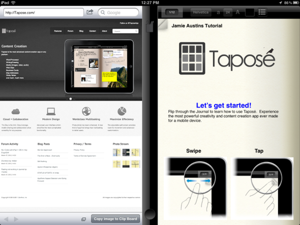 Taposé's Split Screen For The iPad: A Visual Tour