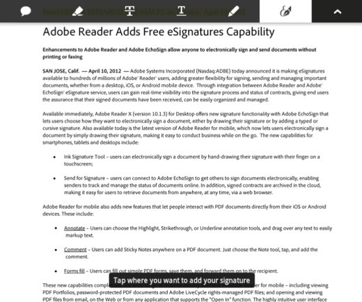 Adobe Integrates EchoSign e-Signature Service Into Adobe Reader