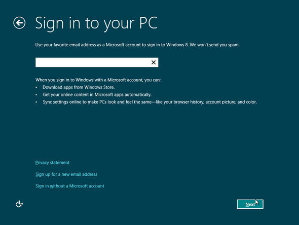 Sign In For Windows 8