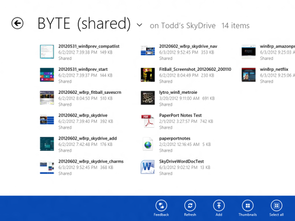 SkyDrive, Windows 8 Metro-Style: A Visual Tour
