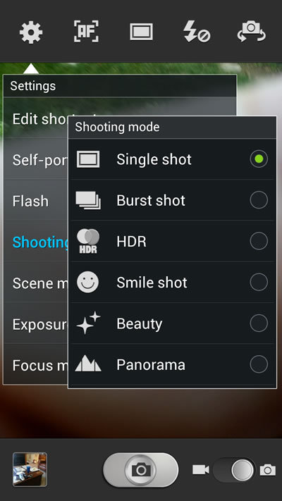Camera Shooting Modes