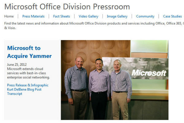 Microsoft CEO Steve Ballmer with Yammer CEO David Sacks and Microsoft Office Division President Kurt DelBene