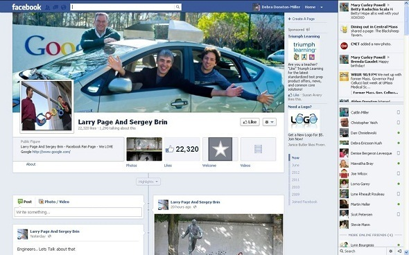 Larry Page and Sergey Brin on Facebook