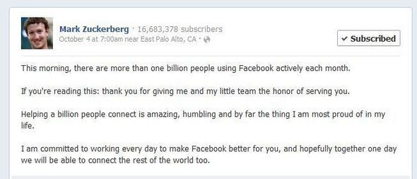 1 Billion Users Strong