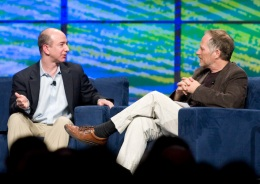 Amazon CEO Jeff Bezos and O'Reilly Media CEO Tim O'Reilly on stage during the Web 2.0 keynote