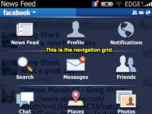 BlackBerry Facebook Navigation Grid