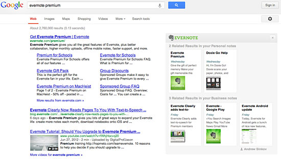 Google Evernote Search