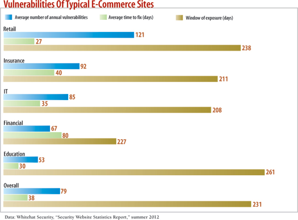 chart: Vulnerabilities Of Typical E-Commerce Sites