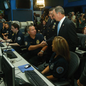 Mayor Bloomberg tours the $11 million NYPD Real Time Crime Center in lower Manhattan. Photo by Edward Reed