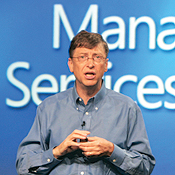 Gates calls Microsoft's fundamental shift in direction to ''live software'' a sea change. ''This affects everybody who uses software,'' he says. -- Photo Courtesy Microsoft
