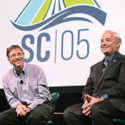 Gates and conference chair William Kramer, of the Lawrence Berkeley National Lab, answer questions at the supercomputing conference.-- Photo by John Froschauer/Bloomberg News