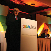 Kapil Sibal, India's minister of state for science and tech, at the conference marking Microsoft Research India's first anniversary. -- Photo by Mahesh Bhat/Getty Images