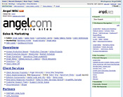 Angel.com has gone from one wiki hidden under a desk to broader use of Socialtext's hosted wiki.
