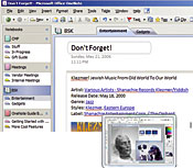 OneNote (above) saves notes, images, and URLs. With Vista, images pop up (right) when you mouse over icons.