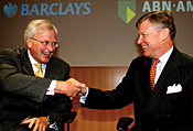 Barclays CEO John Varley and ABN Amro chairman Rijkman Groenink, ready to cut
