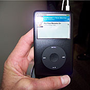 The iPod Classic, formerly the video iPod, is shown to reporters and analysts following Apple's introduction of a revamped product line.