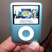 The iPod Nano gets an overhaul in Apple's upgrade of the product line. The device, which sports a 2-inch screen, is a bit wider, but considerably shorter, than the original.