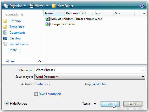 How To Save Documents Directly to Dropbox in Windows 7