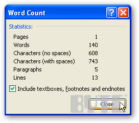 Keyboard shortcut for word counts in word 2007 informationweek recent versions of word dynamically count words at the bottom of the screen but for a detailed analysis show the number of pages paragraphs characters spiritdancerdesigns Images