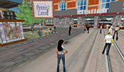 In the cosmopolitan scene in Amsterdam, one of Second Life's more highly traveled destinations, avatars mingle in the street and chat in a variety of languages.