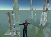 Spaceport Alpha, a popular educational sim containing life-size replicas of real-life rocket ships and other spacecraft. That's me flying in front of a few rockets.