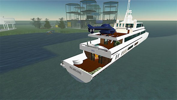 IBM has a large, elaborate area in Second Life. It includes the yacht Palmisano.