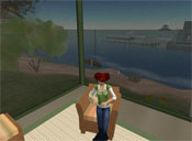 Ida Keen showed me the house she created in Second Life. It's loosely based on a house her grandmother lived in, on a canal in Florida. Here we're on the screened porch of the house -- look at the terrific view through the screen. Ida is the Second Life pseudonym of one of the players -- they're called ''residents'' in SL. You're looking at her avatar.