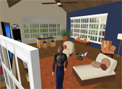 Another view of Ida's house. That's me -- or, rather, my avatar, Ziggy Figaro -- with my back to the camera.