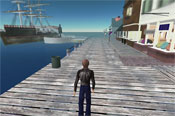 The Nantucket area of Second Life. An area of Second life is called a ''sim''.