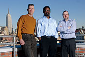 Room with a view: Google engineering directors Alan Warren, Marcus Mitchell, and Craig Nevill-Manning -- Photo by Sacha Lecca